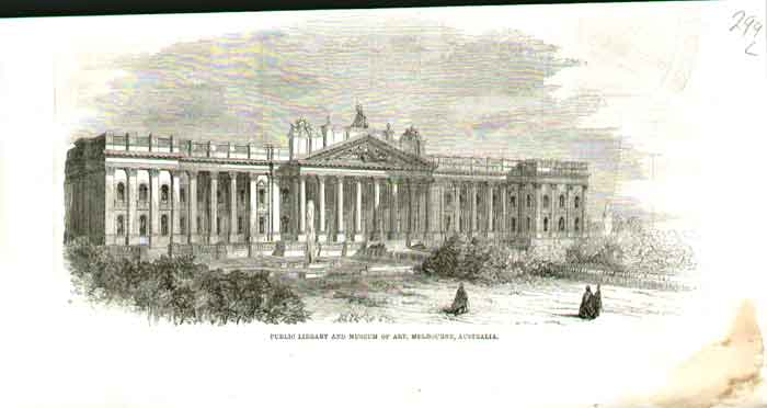 [Print Library And Museum Art Melbourne Australia A299A176 Old Original]