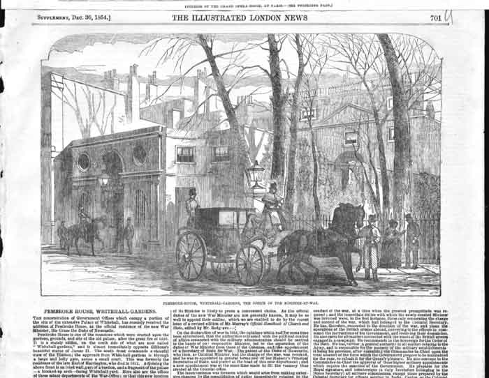 [Print Pembroke House Whitehall Ministry War 1854 4701A176 Old Original]
