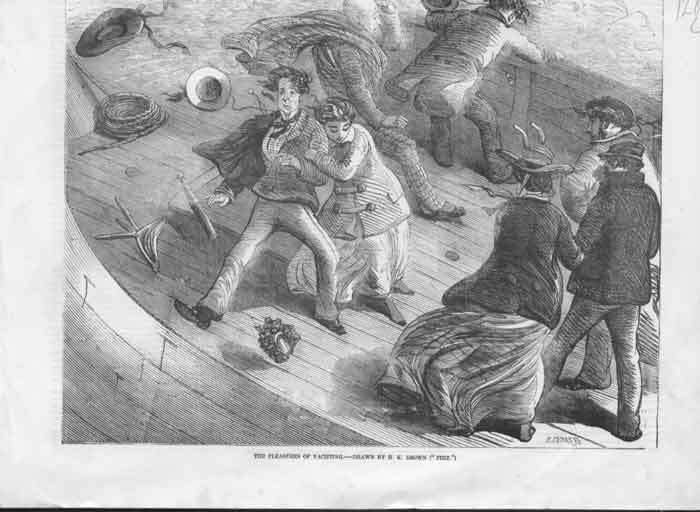 [Print Pleasures Yachting Drawn By Brown ( Phiz ) 1A28A176 Old Original]
