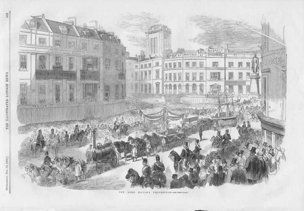 [Print Lord Mayors Procession 1856 With Full Details 50A3A176 Old Original]