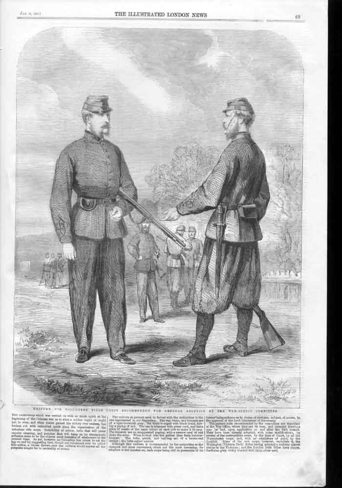 [Print New Uniforms For Rifle Corps 1860 War Office 069A176 Old Original]