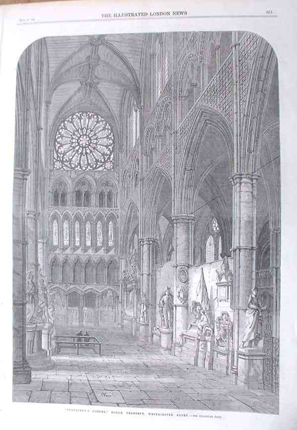 [Print London News 1895 Illustrated Statesmens Corner Westminister Abbey 461A176 Old Original]