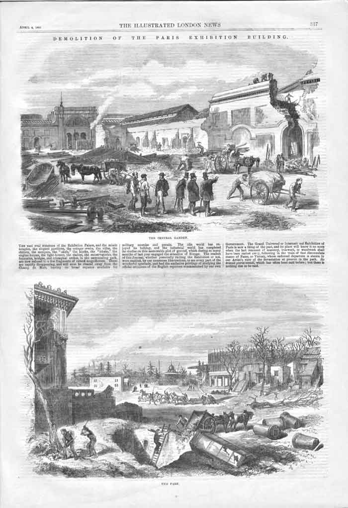 [Print Demolition Paris Exhibition Building 1868 A3A3A176 Old Original]