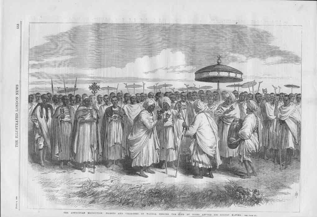 [Print Priests Villagers Singing Song Moses Abyssini 55A3A176 Old Original]