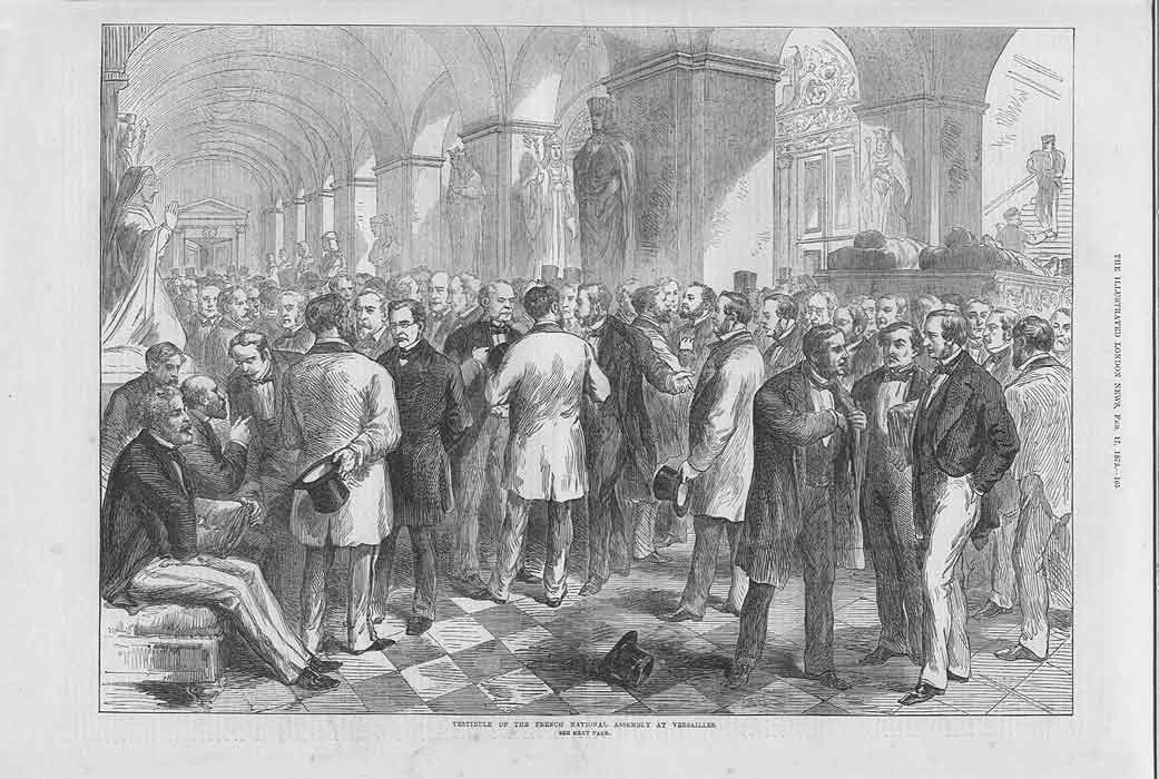 [Print Vestible French National Assembly Versailles 2165A176 Old Original]