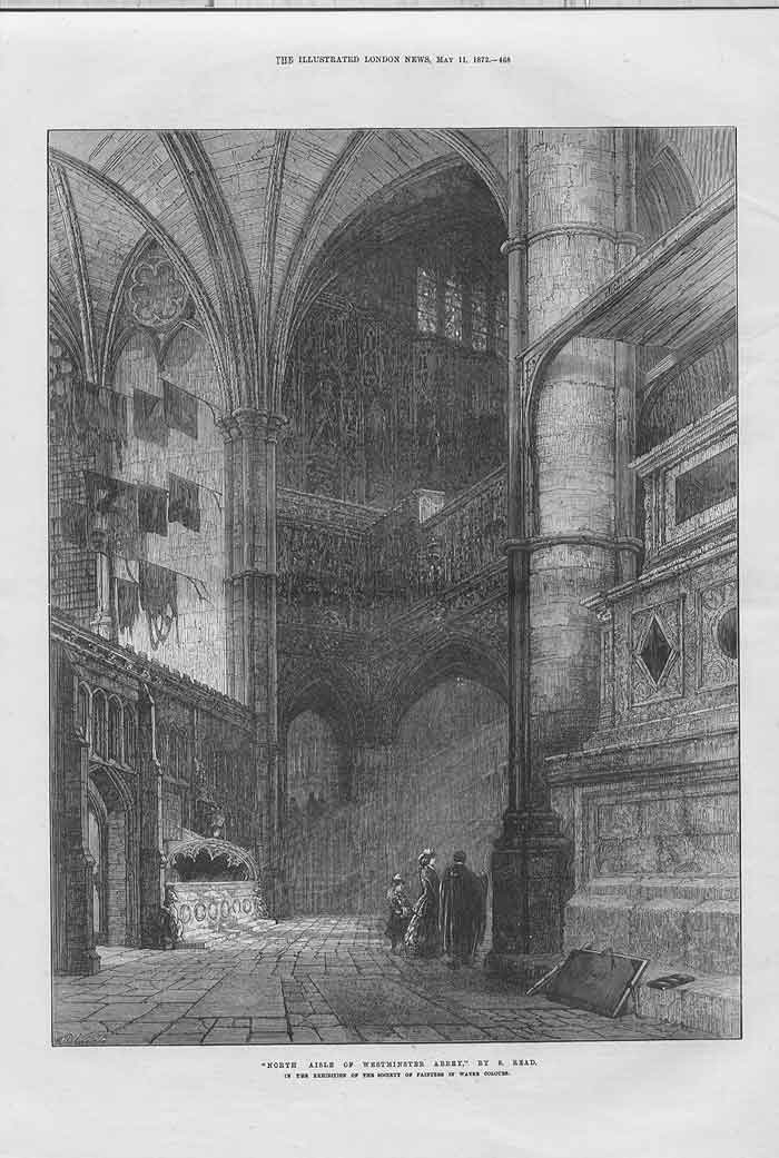 [Print North Aisle Westminister Abbey By S Reid 1872 2468A176 Old Original]
