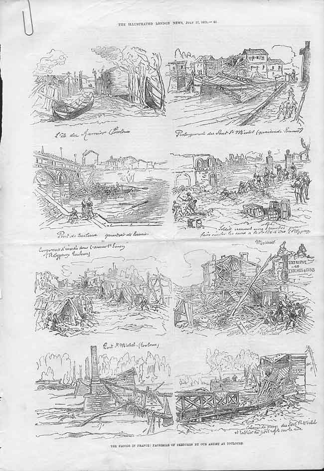 [Print Floods In France 1875 Sketches From Toulouse 061Aa176 Old Original]
