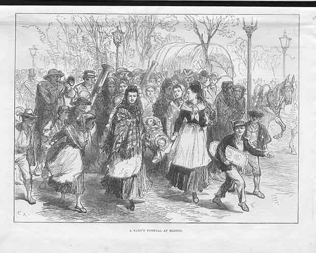 [Print A Baby'S Funeral In Madrid Spain 1875 1A24A176 Old Original]
