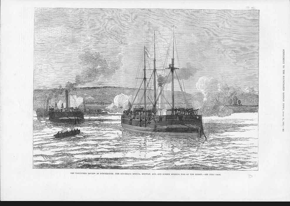 [Print Gun Boats Opening Fire Portsmouth Review 1882 2A36A176 Old Original]