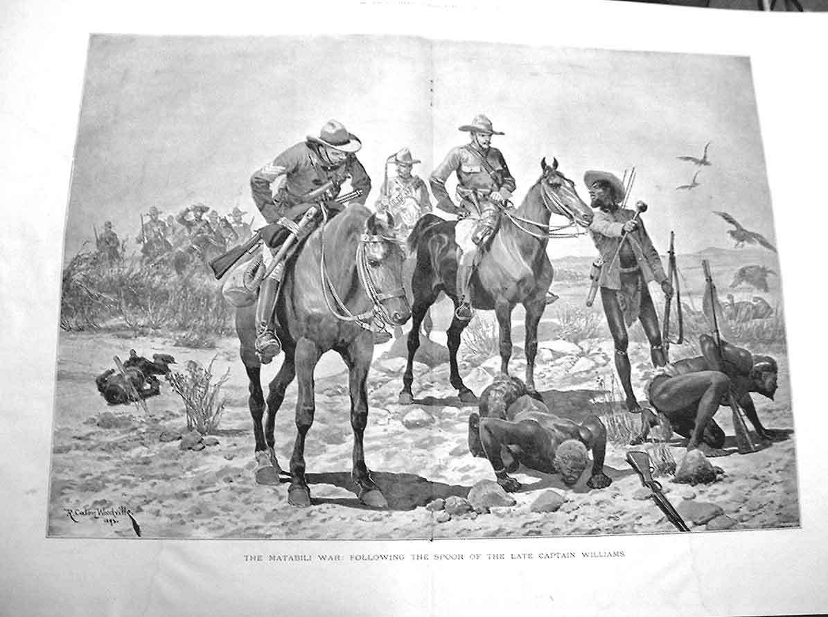 [Print Matabili War Following Spoor Cpt Williams 38A3A176 Old Original]
