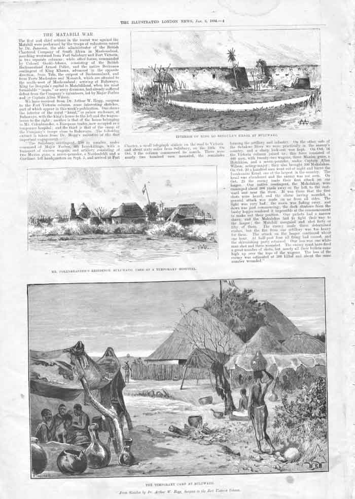 [Print Matabili War Camp At Bulawayo 1894 004Aa176 Old Original]