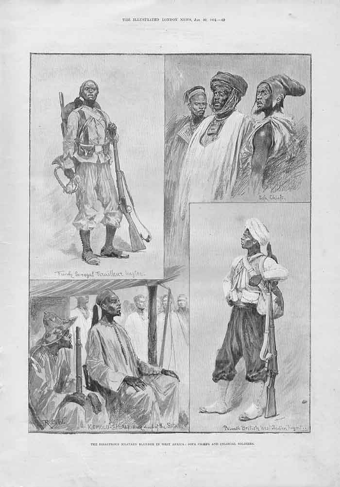 [Print Sofa Chief Colonial Soldiers West Africa 1894 069A176 Old Original]