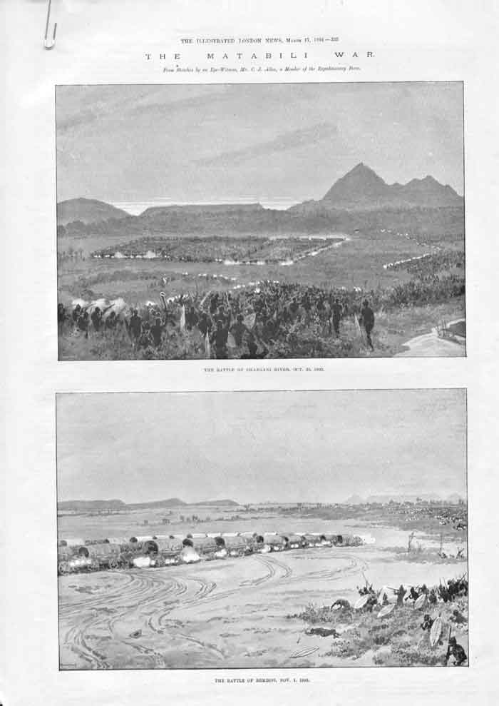 [Print The Matabili War 1894 Africa Fight At Bembesi A3A3A176 Old Original]
