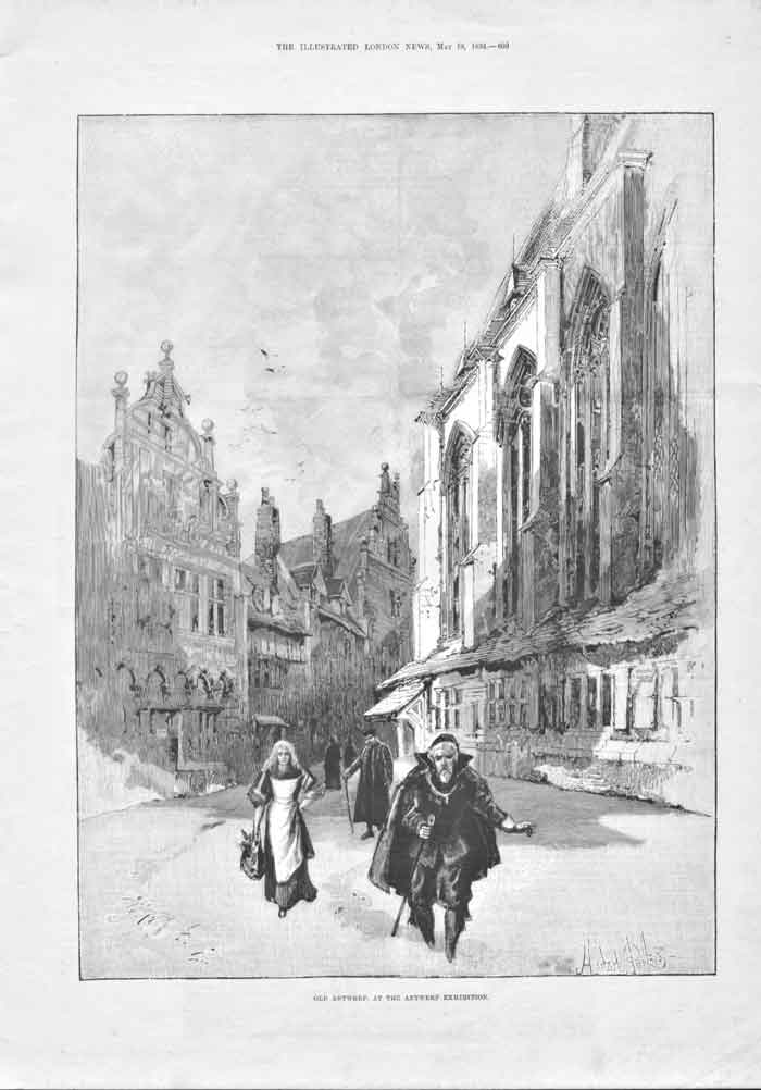 [Print Antwerp At The Antwerp Exhibition 1894 609A176 Old Original]