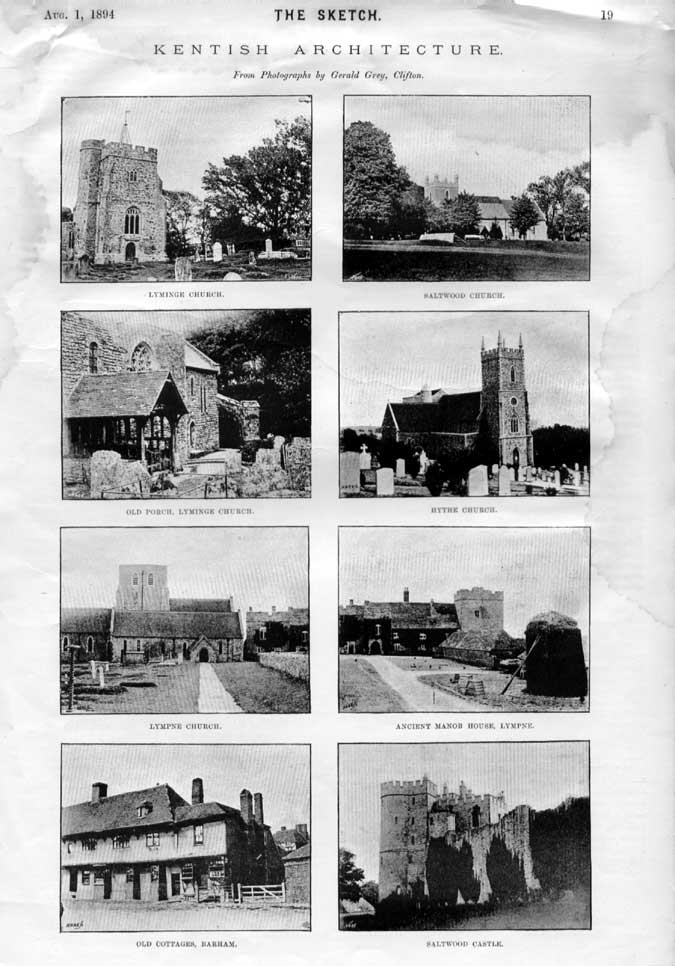 [Print Kentish Architecture 1894 Sketch 0014A2A3 Old Original]