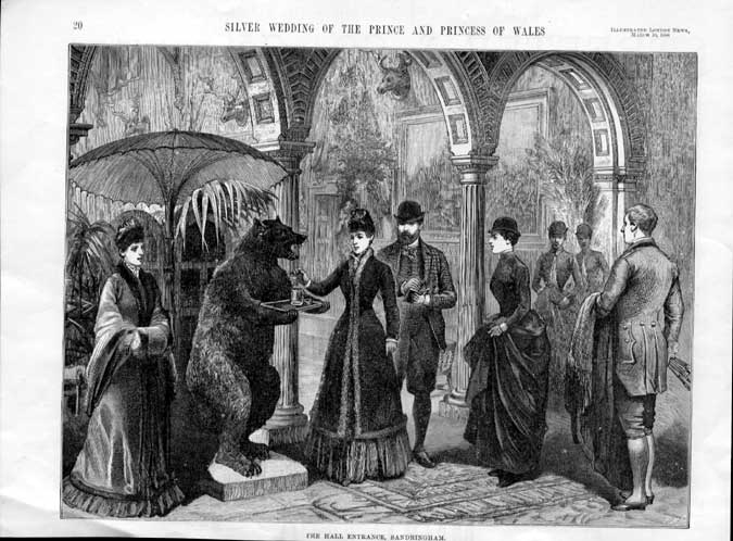 [Print The Hall Entrance Sandringham 1888 Silver Wed 00A1A2A3 Old Original]