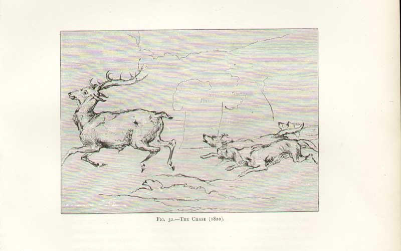 Print Landseer Sketch Chase Hounds Red Deer 1820 153081 Old Original