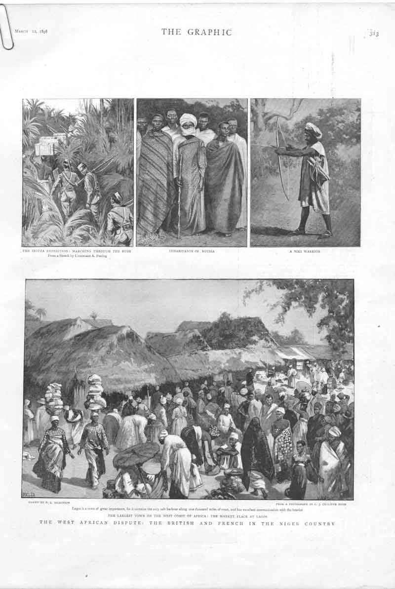 [Print West Africa Dispute English French In Niger A31Aa316 Old Original]