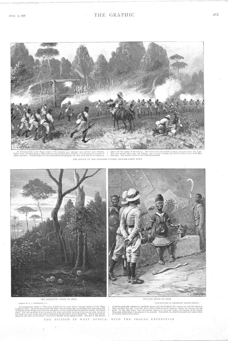 [Print Britiah Ibouza Expedition Africa 3 Sketches 41A3A316 Old Original]