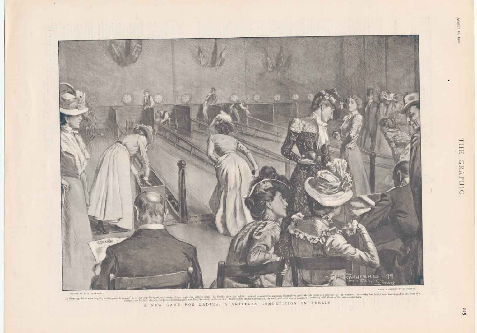 [Print Skittle Game For Ladies Berlin Germany 1900 A245A316 Old Original]