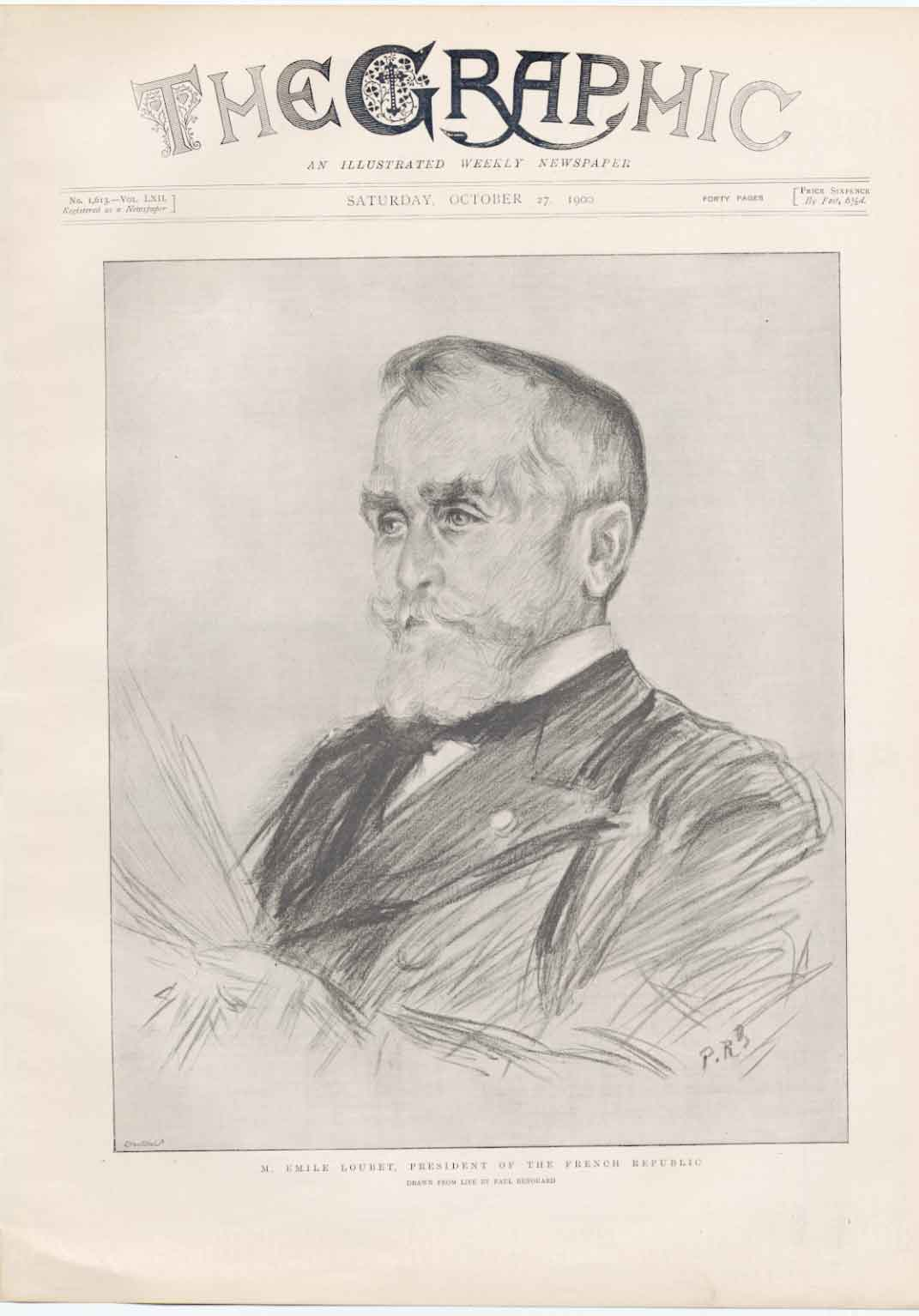 [Print Portrait Emile Loubert President France 1900 60A2A316 Old Original]