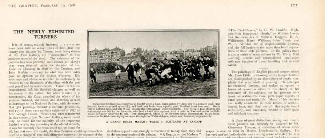 Print Wales V Scotland Rugby Match Cardiff 1906 753161 Old Original