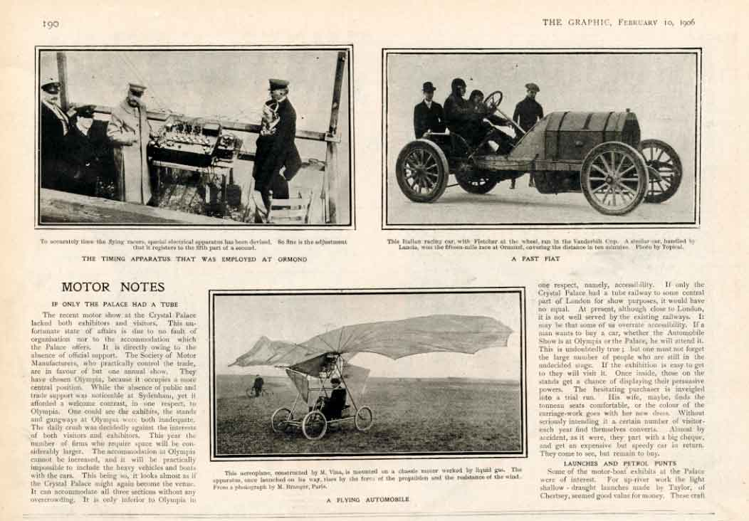[Print Motor Notes 1906 Fast Car Flying Automobile 190A316 Old Original]
