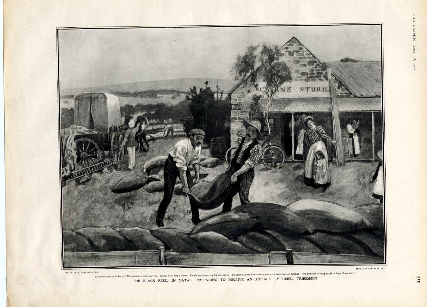 [Print The Black Peril Natal South Africa 1906 5A2Aa316 Old Original]