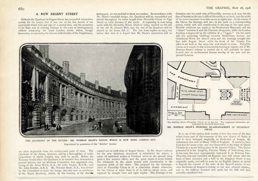[Print Re Arangement Piccadillt Circus 1906 Shaw Design London 680A316 Old Original]