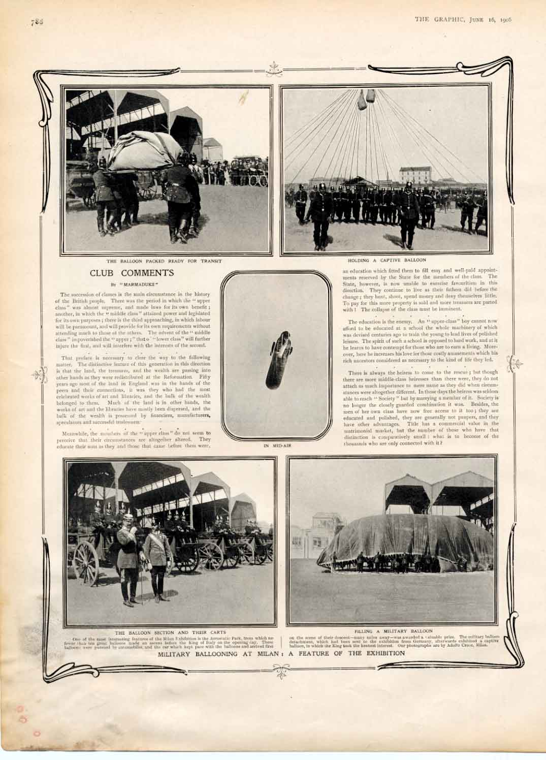 [Print Military Ballooning Milan Exhibition 1906 788A316 Old Original]