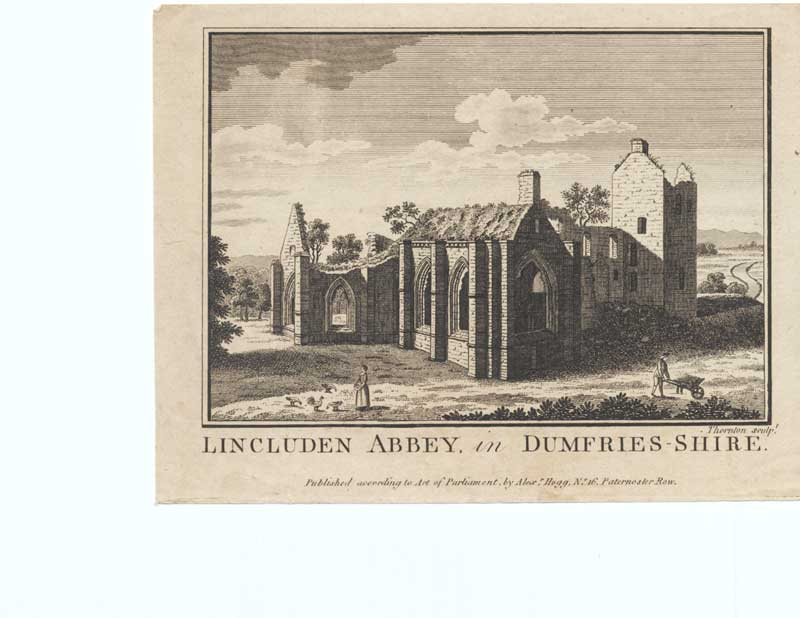 [Old Antique Print Lincluden Abbey Dumfrieshire Scotland 1790 053221 ]