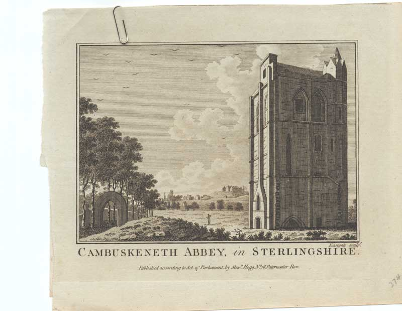 [Old Antique Print Cambuskenneth Abbey Stirlingshire C1790 253221 ]