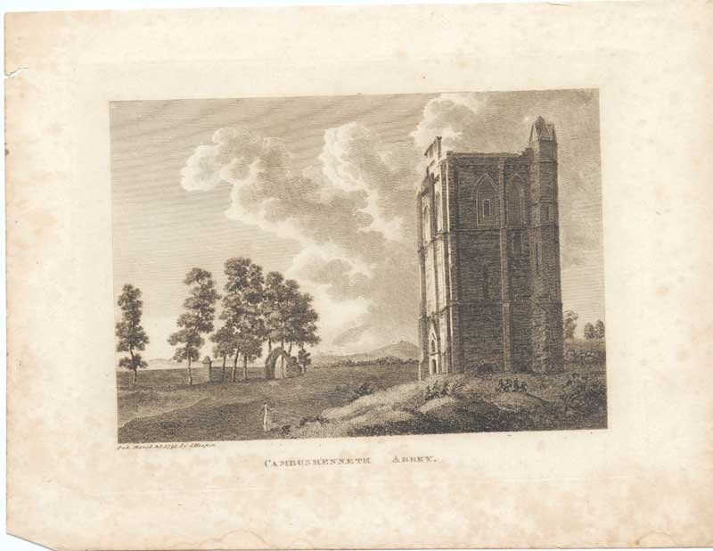 [Print Cambuskenneth Abbey Scottish Antiquities 1790 7900A3A2 Old Original]