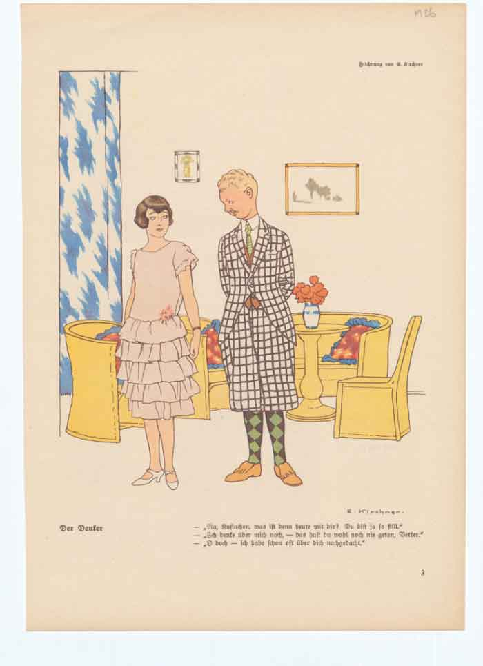 [Print Art Deco Humour Flirting 1926 Style 011A340 Old Original]
