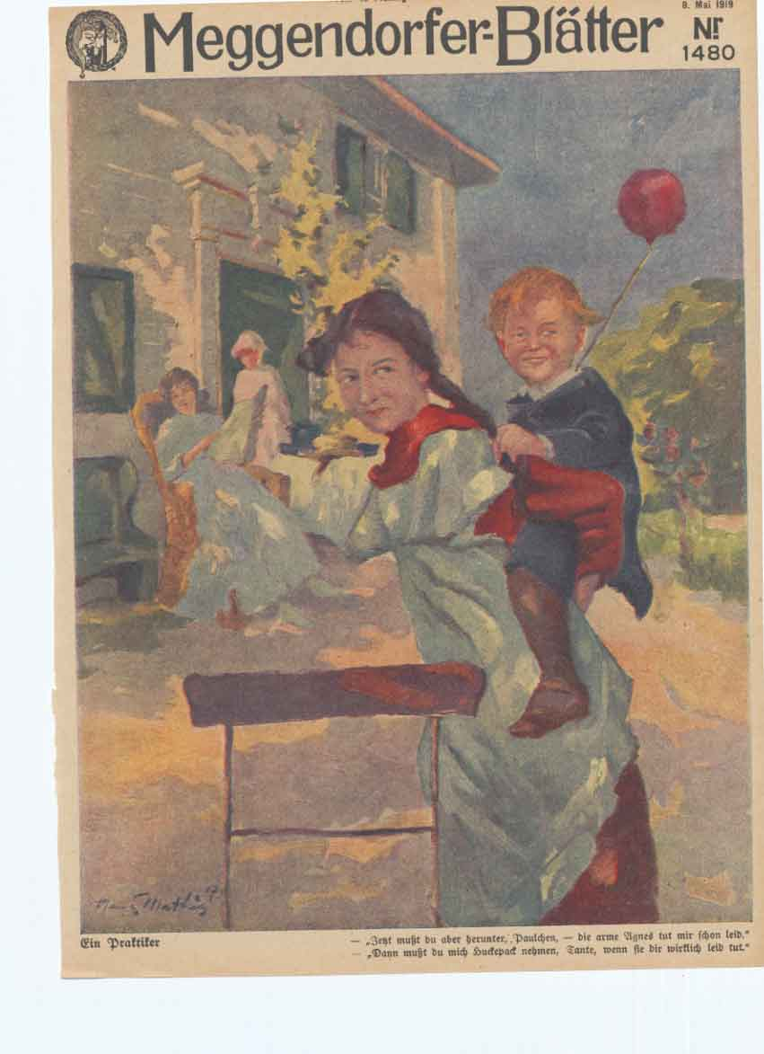 [Print Art Deco Humour Mother Child Back To Normal 0A28A340 Old Original]