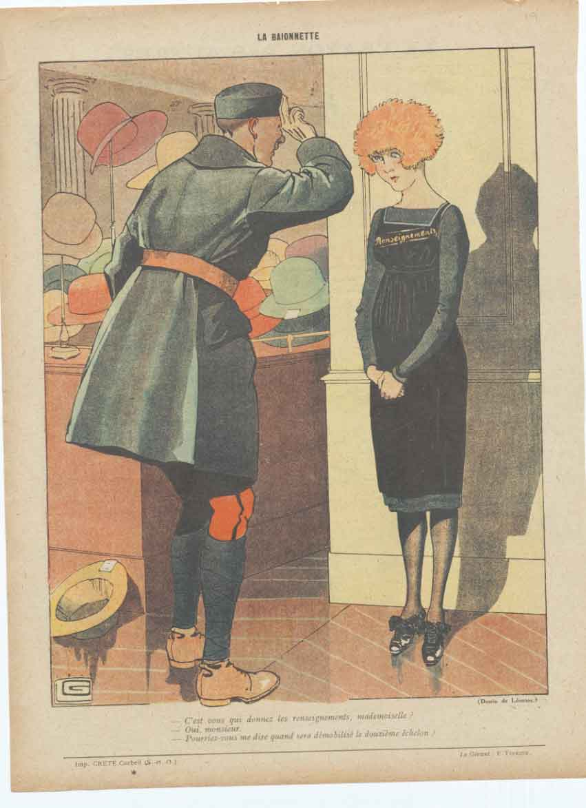 [Print Art Deco Humour Demobilised 1919 France 041A340 Old Original]