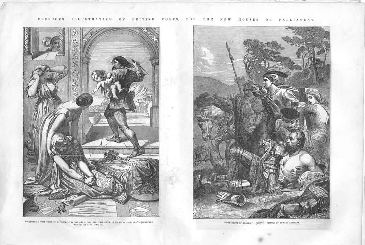 [Print New Statues A& Frescoes Westminister 1855 1A36A376 Old Original]