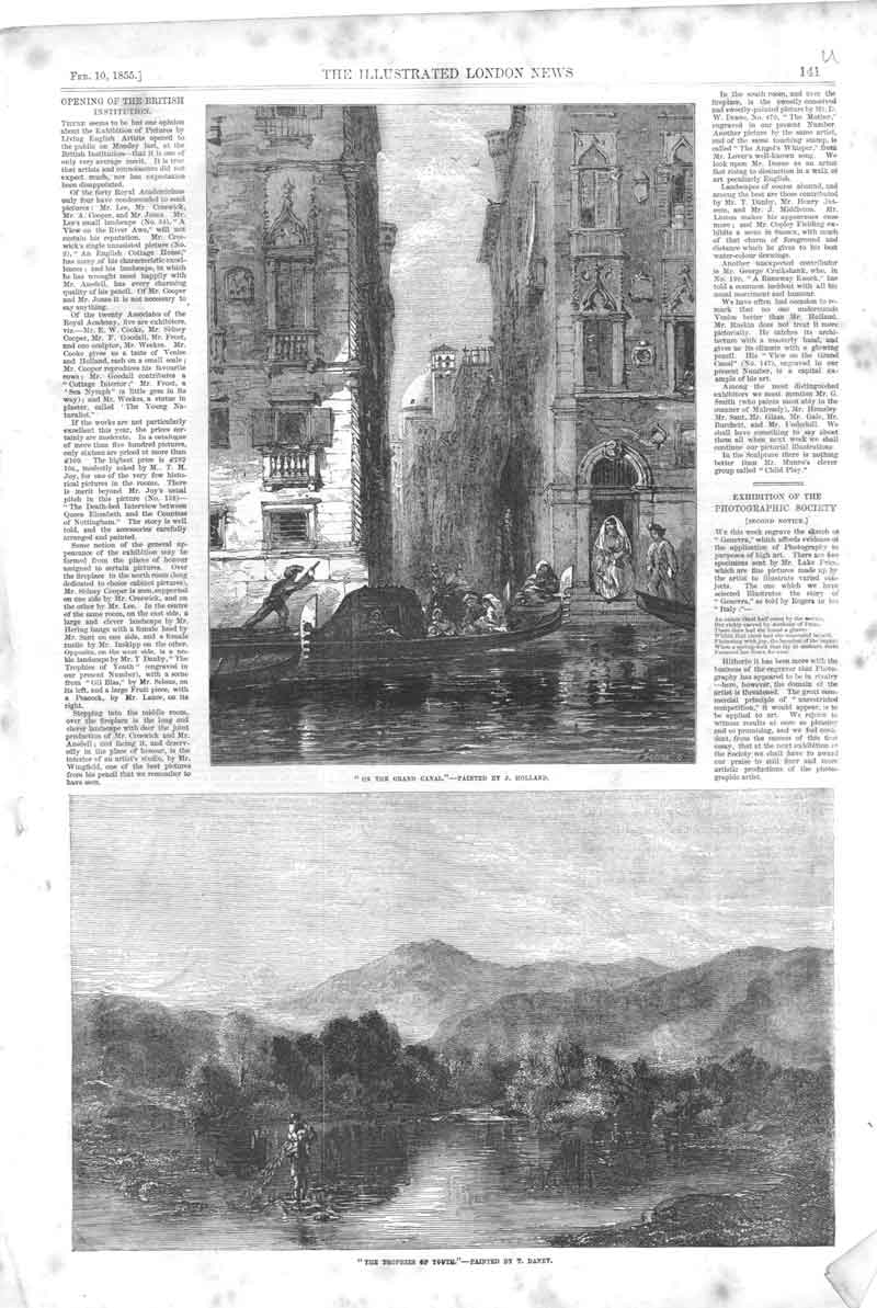 [Print On Grand Canal By Holland 1855 141A376 Old Original]