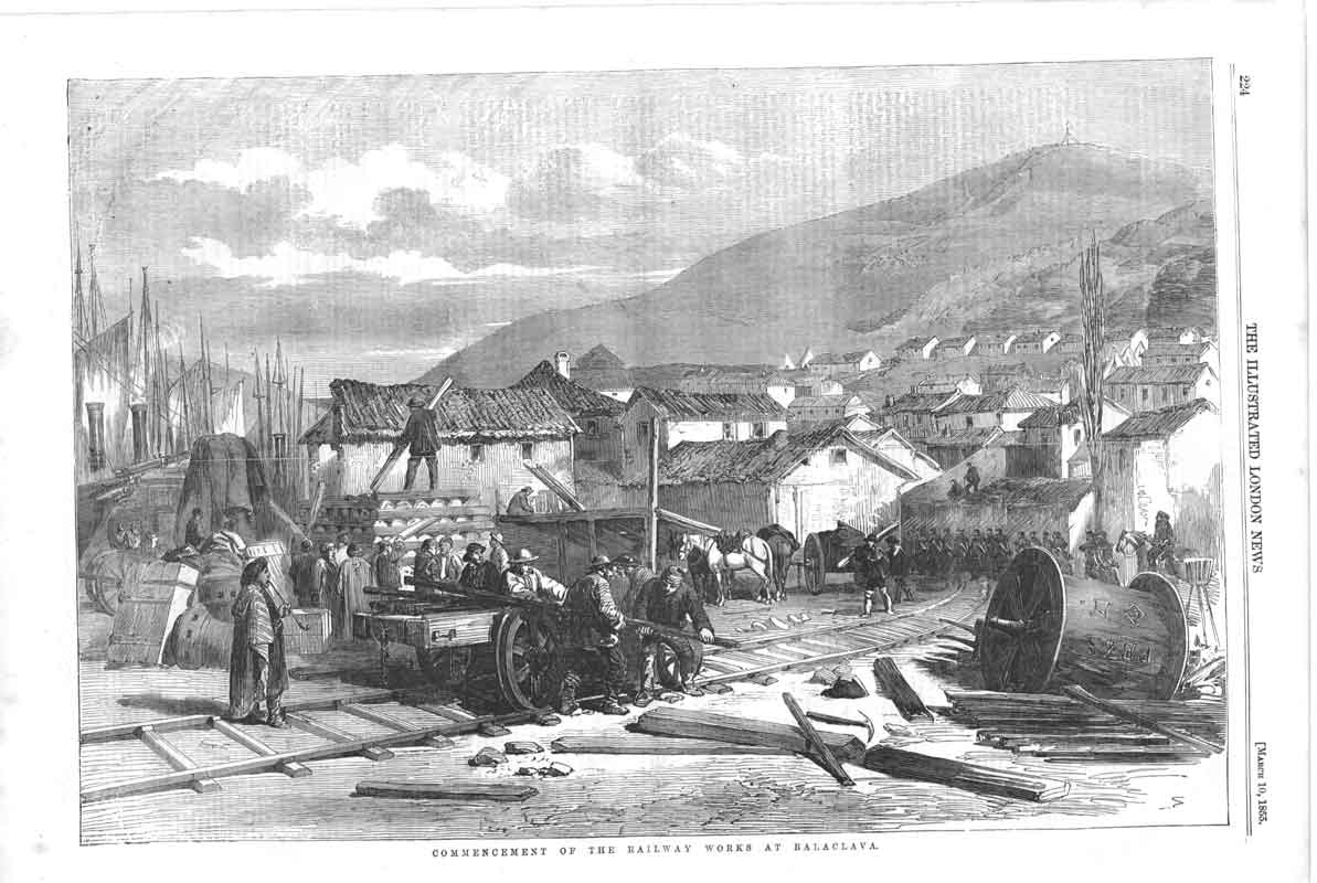 [Print Commencement Railway Works Balaclava 1855 A2A2A376 Old Original]
