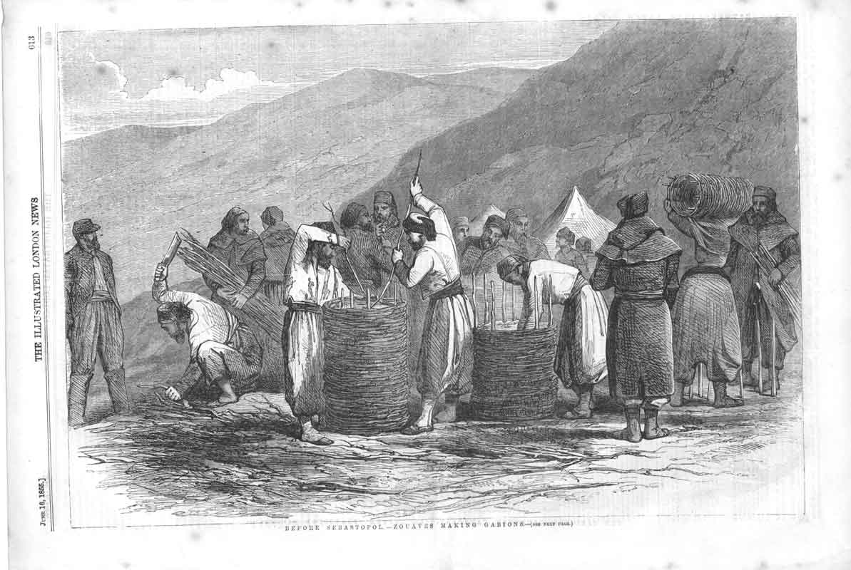 [Print Zouaves Making Gabions Crimea War 1855 61A3A376 Old Original]