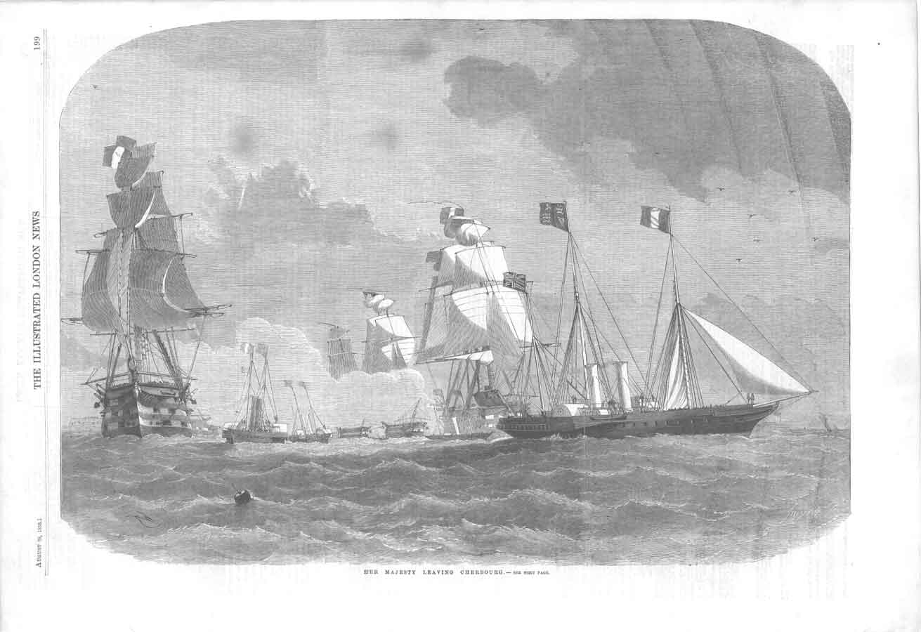 [Print Royal Yacht Leaves Cherbourg Ships 199A376 Old Original]