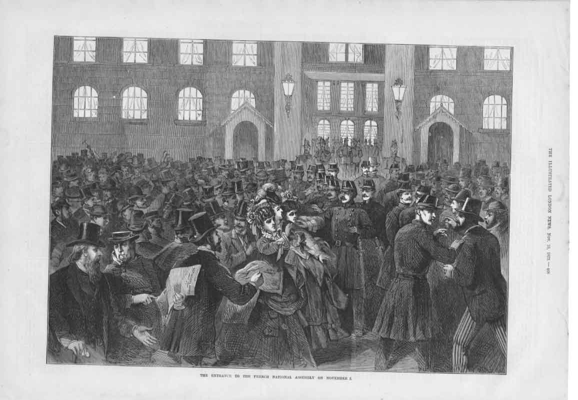 [Print Entrance French National Assembly 1873 3468A376 Old Original]