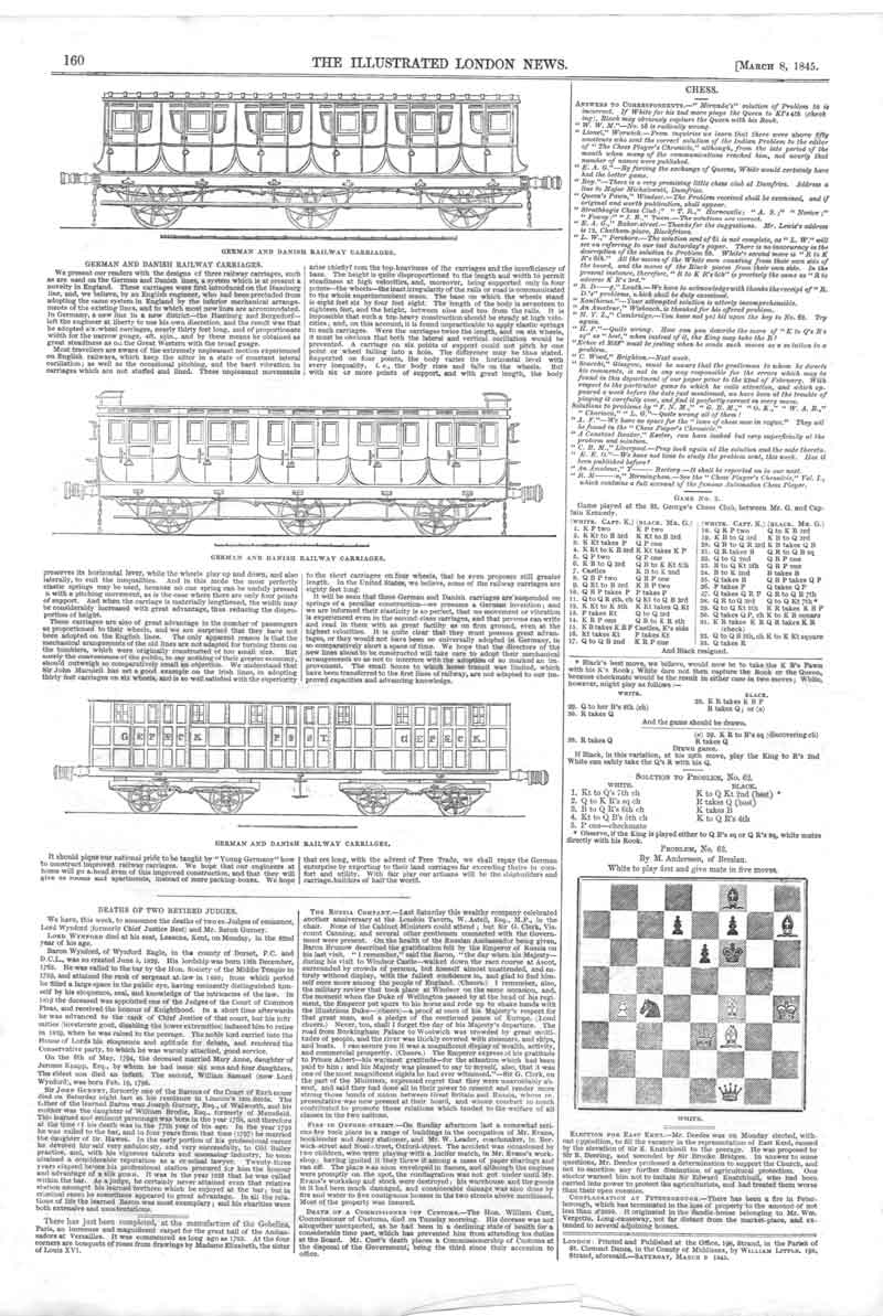 [Print Chess Chess Problem *63 Railway Carriage Designs 160A376 Old Original]