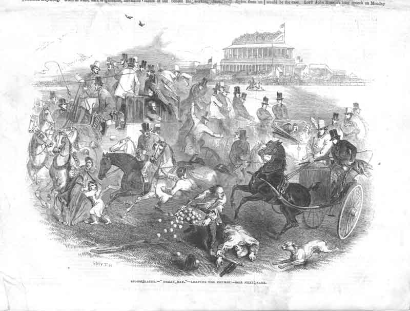 [Print Derby Day Epsom Races Horse A3A3A376 Old Original]