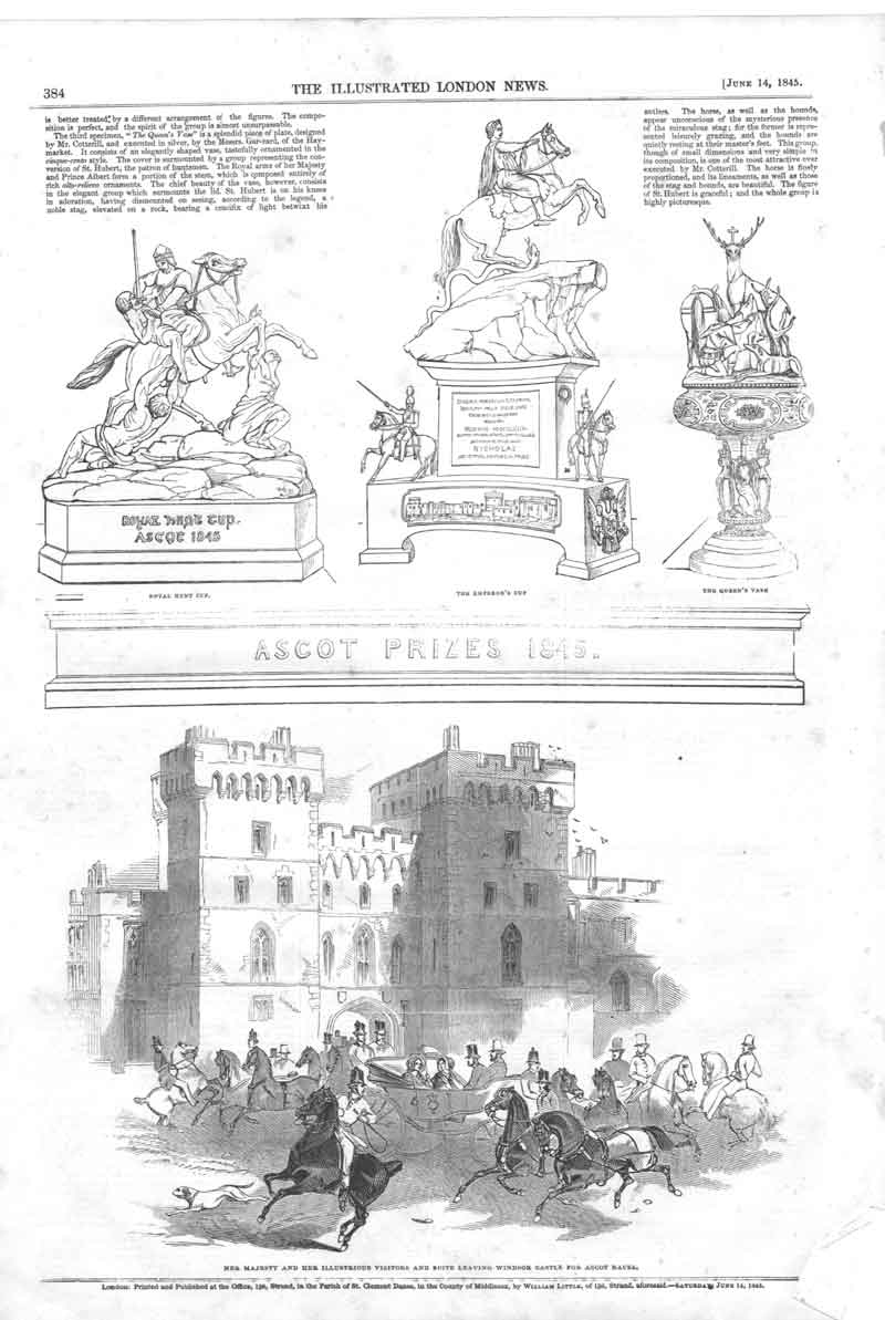 [Print Ascot Horse Race Prizes 1845 A384A376 Old Original]