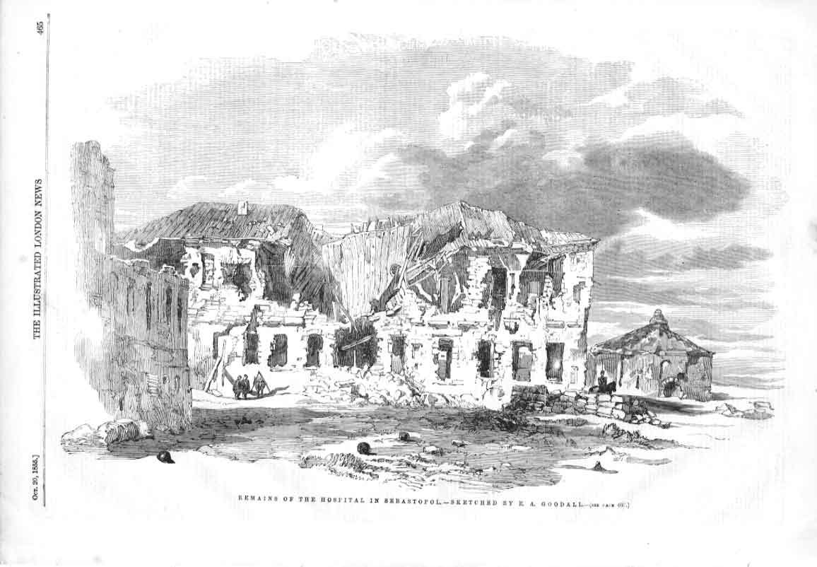 [Print Remains Hospital Sebastopol By Goodall 1855 465A376 Old Original]
