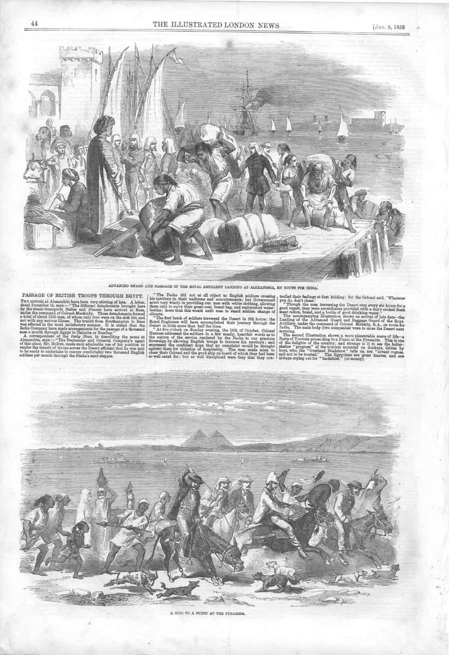 [Print Royal Artillery Alexandria Enroute India 1858 044A379 Old Original]