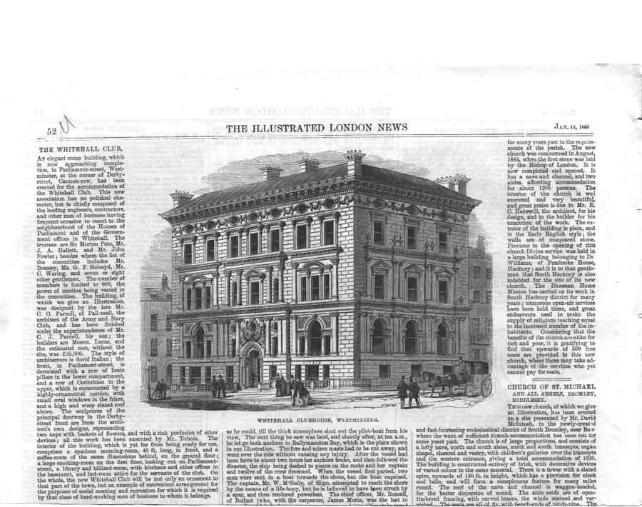 [Print Whitehall Clubhouse Westminister London 1866 05A2A376 Old Original]