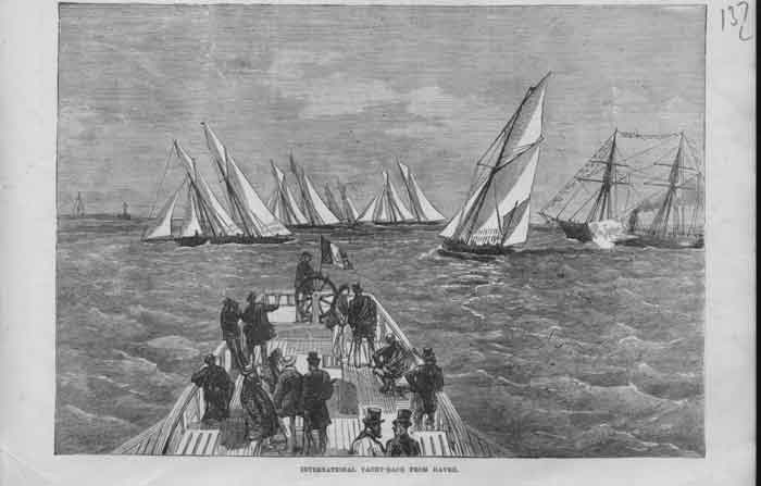 [Print International Yacht Race From Havre 1874 1A37A376 Old Original]