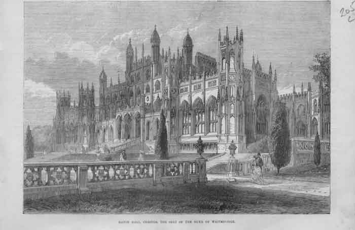 [Print Eaton Hall Chester Seat Duke Westminister 187 A205A376 Old Original]
